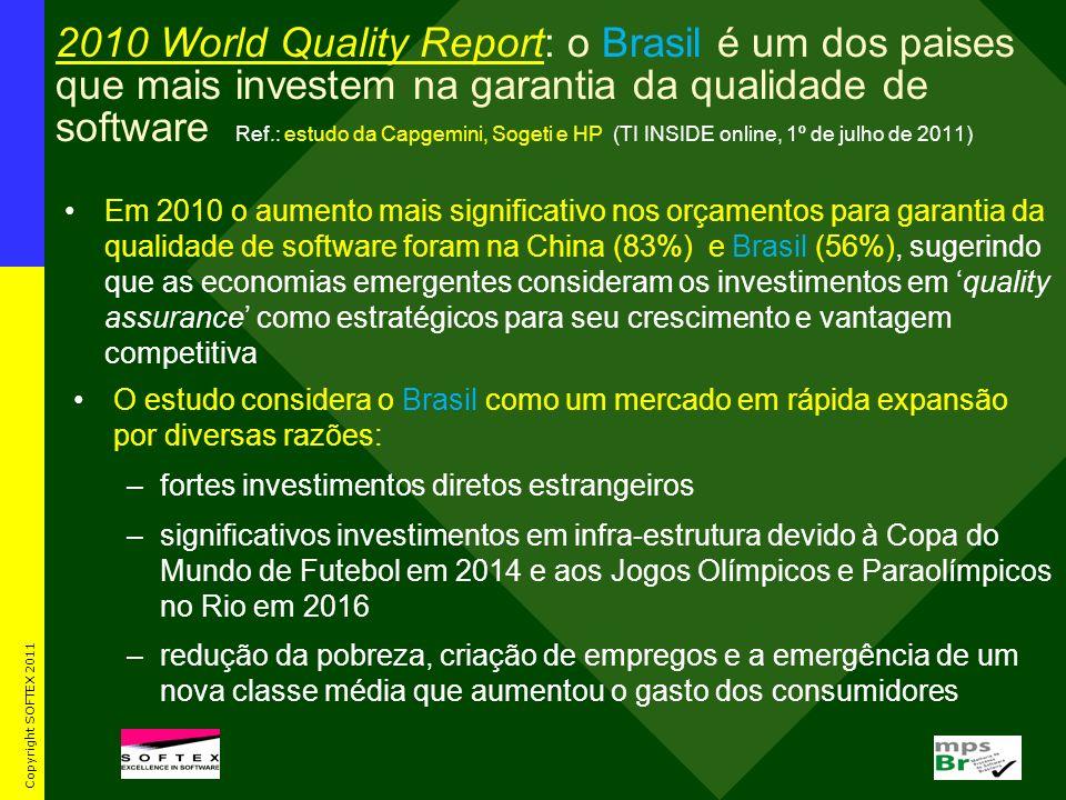 2010 World Quality Report: o Brasil é um dos paises que mais investem na garantia da qualidade de software Ref.: estudo da Capgemini, Sogeti e HP (TI INSIDE online, 1º de julho de 2011)