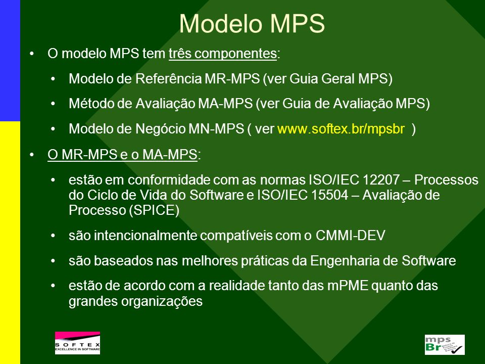 Modelo MPS O modelo MPS tem três componentes: