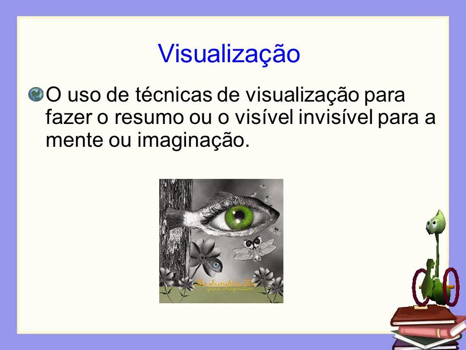 Visualização O uso de técnicas de visualização para fazer o resumo ou o visível invisível para a mente ou imaginação.