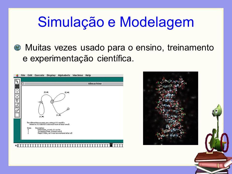 Simulação e Modelagem Muitas vezes usado para o ensino, treinamento e experimentação científica.