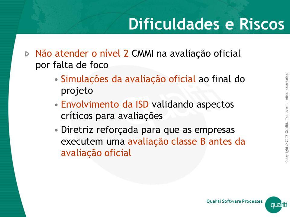 Dificuldades e Riscos Não atender o nível 2 CMMI na avaliação oficial por falta de foco. Simulações da avaliação oficial ao final do projeto.