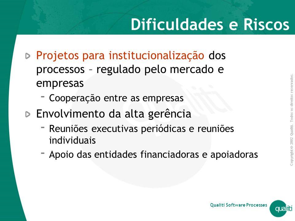 Dificuldades e Riscos Projetos para institucionalização dos processos – regulado pelo mercado e empresas.
