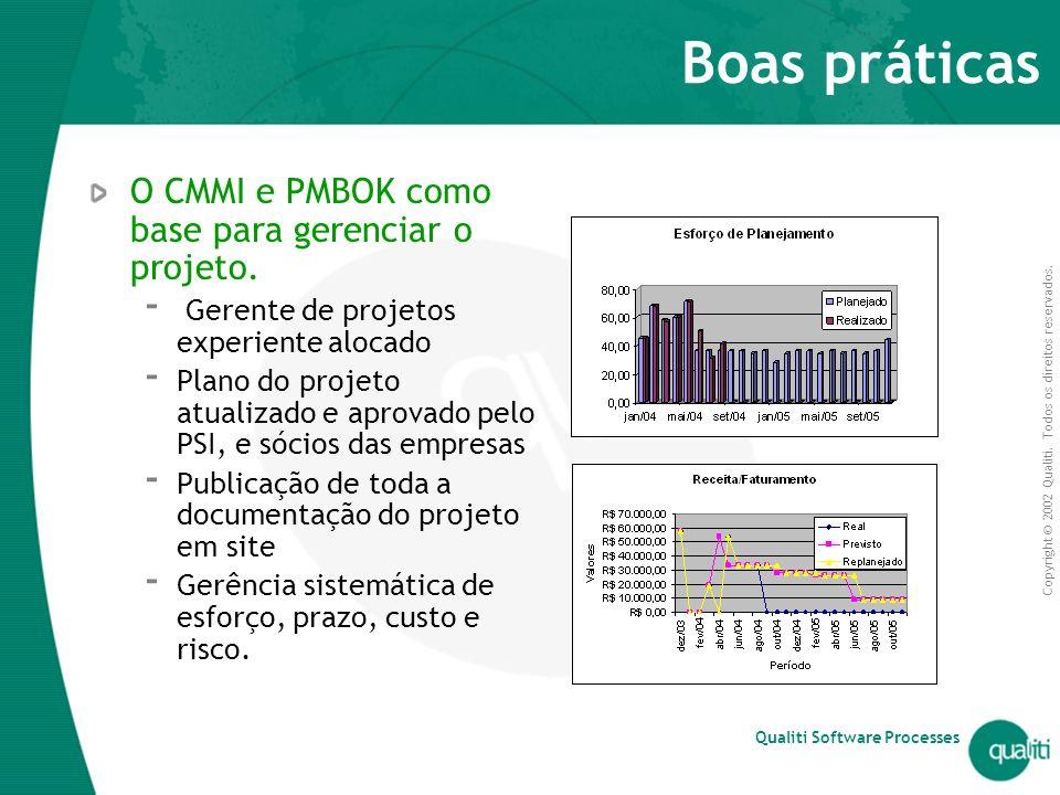 Boas práticas O CMMI e PMBOK como base para gerenciar o projeto.