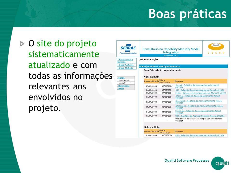 Boas práticas O site do projeto sistematicamente atualizado e com todas as informações relevantes aos envolvidos no projeto.