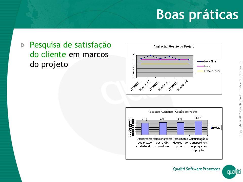 Boas práticas Pesquisa de satisfação do cliente em marcos do projeto