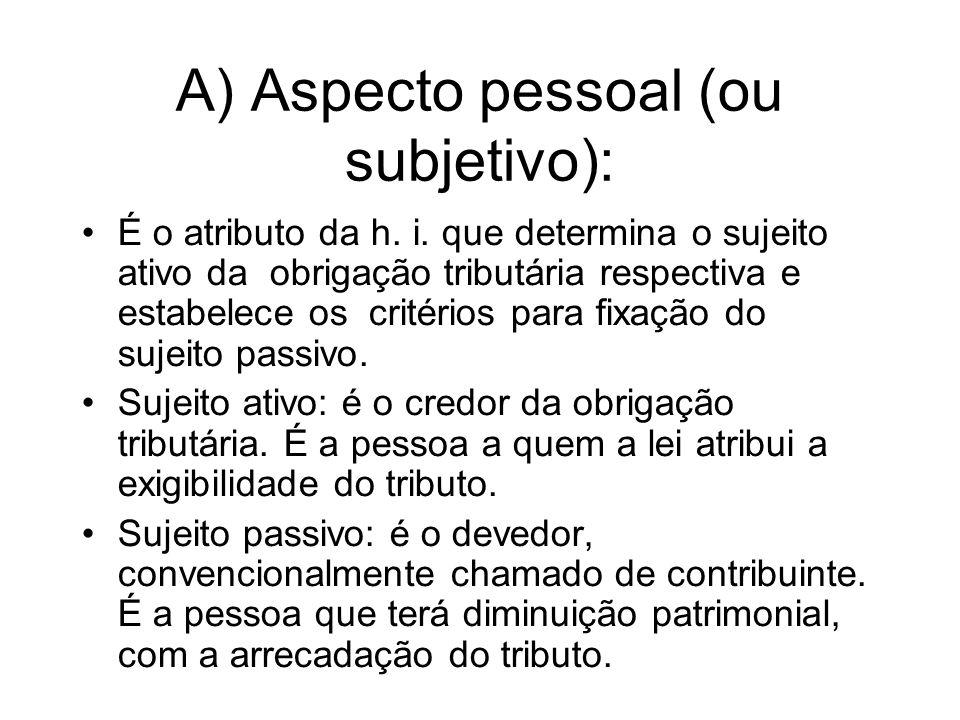 A) Aspecto pessoal (ou subjetivo):