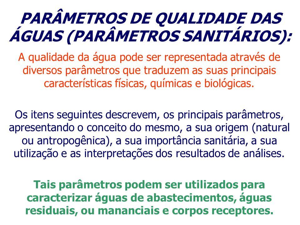 PARÂMETROS DE QUALIDADE DAS ÁGUAS (PARÂMETROS SANITÁRIOS):