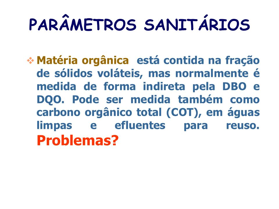 PARÂMETROS SANITÁRIOS