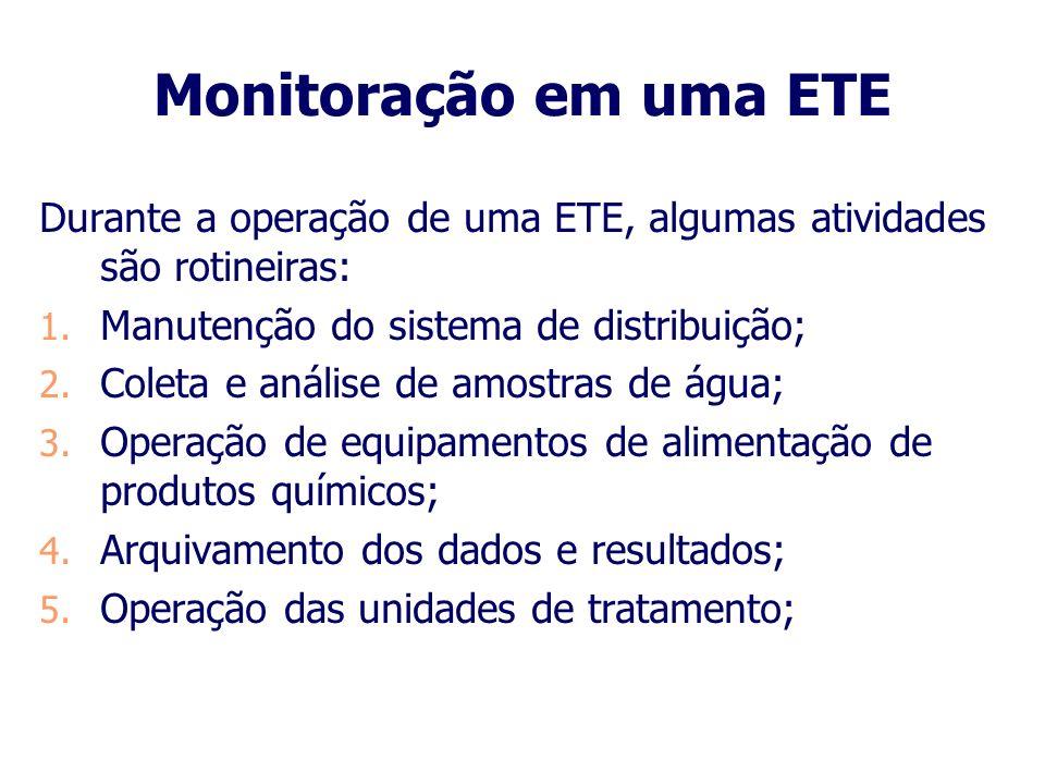 Monitoração em uma ETE Durante a operação de uma ETE, algumas atividades são rotineiras: Manutenção do sistema de distribuição;
