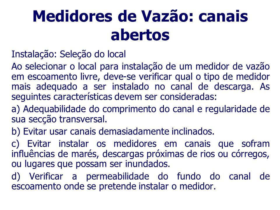 Medidores de Vazão: canais abertos