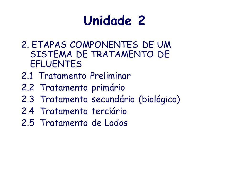 Unidade 2 2. ETAPAS COMPONENTES DE UM SISTEMA DE TRATAMENTO DE EFLUENTES. 2.1 Tratamento Preliminar.