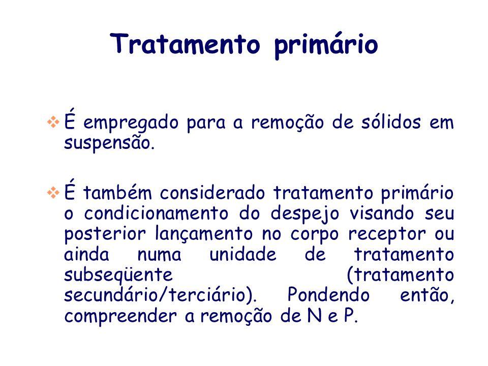 Tratamento primárioÉ empregado para a remoção de sólidos em suspensão.