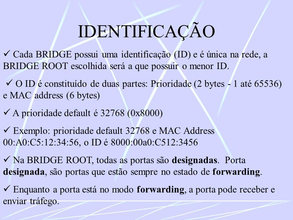 IDENTIFICAÇÃO  Cada BRIDGE possui uma identificação (ID) e é única na rede, a BRIDGE ROOT escolhida será a que possuir o menor ID.