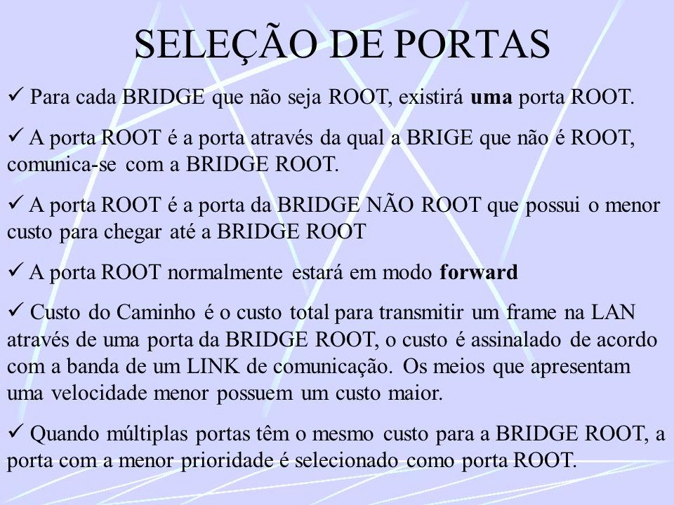SELEÇÃO DE PORTAS  Para cada BRIDGE que não seja ROOT, existirá uma porta ROOT.