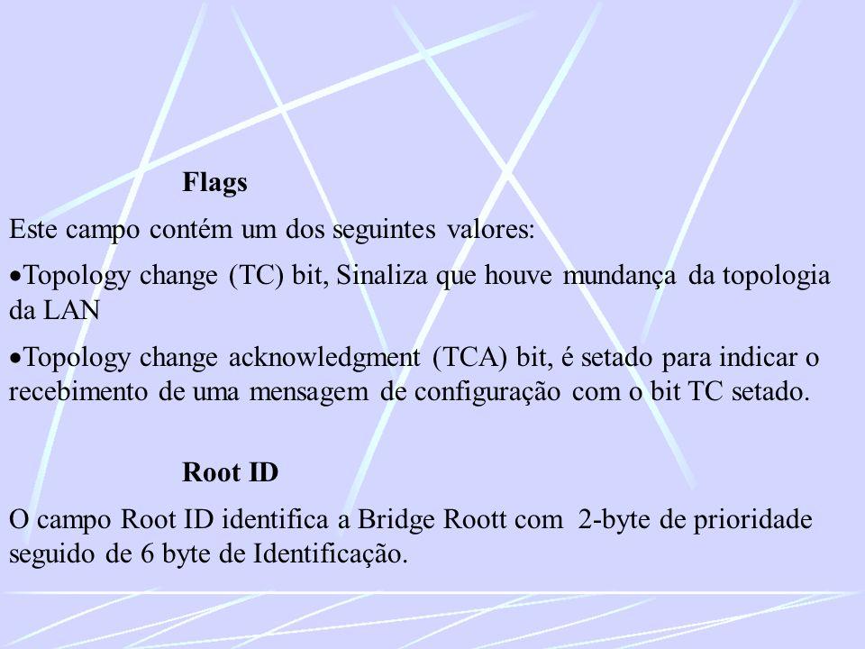 Flags Este campo contém um dos seguintes valores: Topology change (TC) bit, Sinaliza que houve mundança da topologia da LAN.