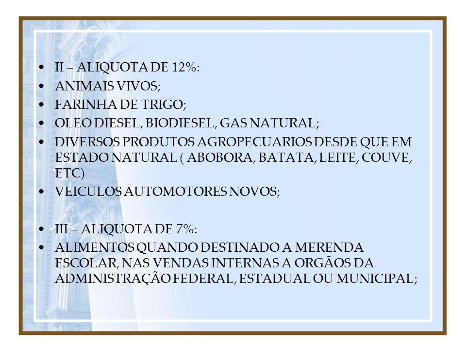 II – ALIQUOTA DE 12%: ANIMAIS VIVOS; FARINHA DE TRIGO; OLEO DIESEL, BIODIESEL, GAS NATURAL;