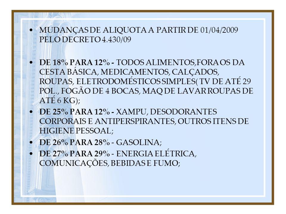 MUDANÇAS DE ALIQUOTA A PARTIR DE 01/04/2009 PELO DECRETO 4.430/09