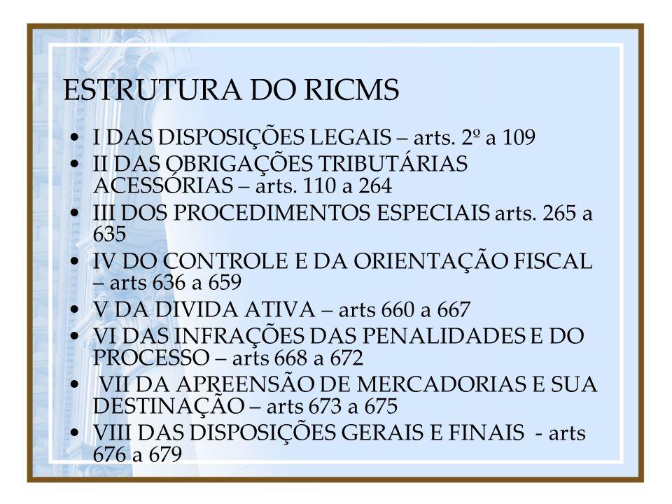 ESTRUTURA DO RICMS I DAS DISPOSIÇÕES LEGAIS – arts. 2º a 109