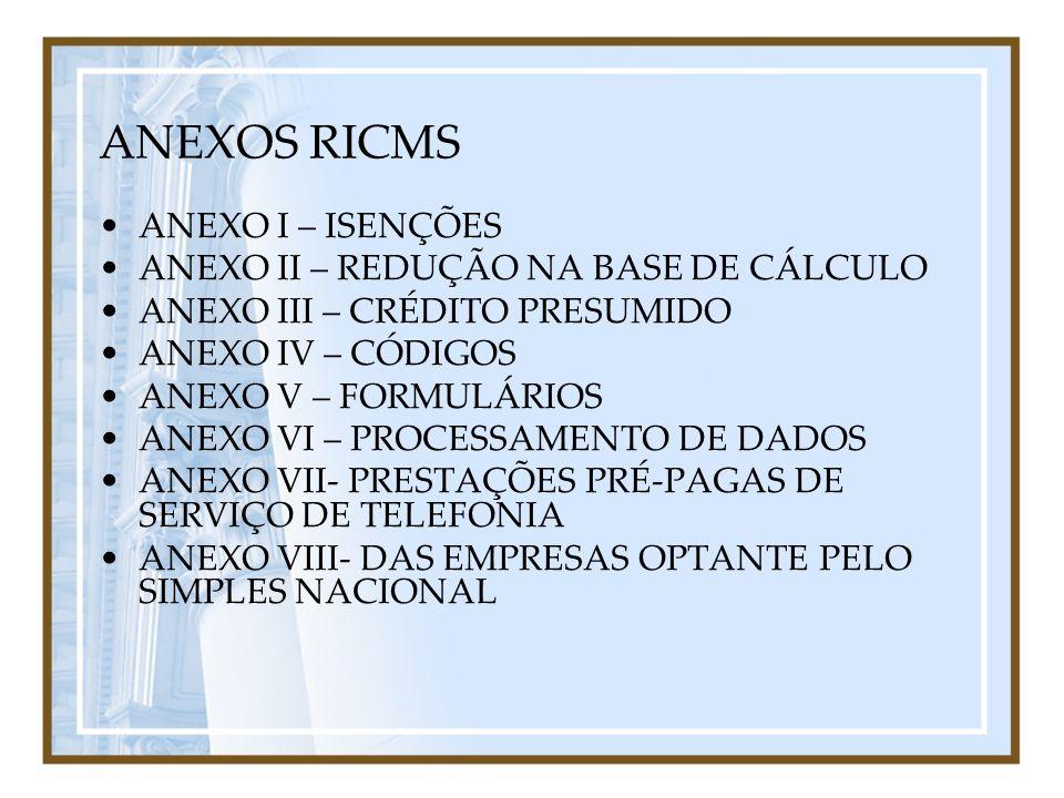 ANEXOS RICMS ANEXO I – ISENÇÕES ANEXO II – REDUÇÃO NA BASE DE CÁLCULO
