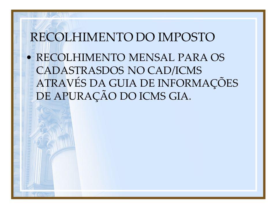 RECOLHIMENTO DO IMPOSTO