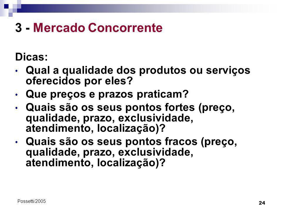 3 - Mercado Concorrente Dicas: