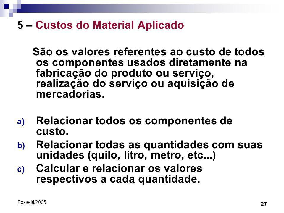 5 – Custos do Material Aplicado