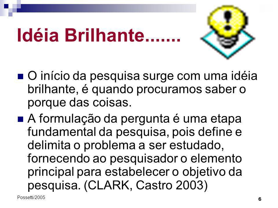 Idéia Brilhante....... O início da pesquisa surge com uma idéia brilhante, é quando procuramos saber o porque das coisas.