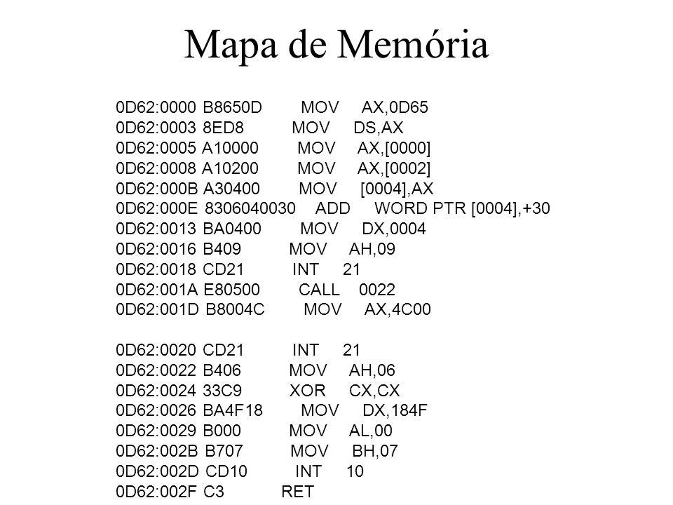 Mapa de Memória 0D62:0000 B8650D MOV AX,0D65 0D62:0003 8ED8 MOV DS,AX