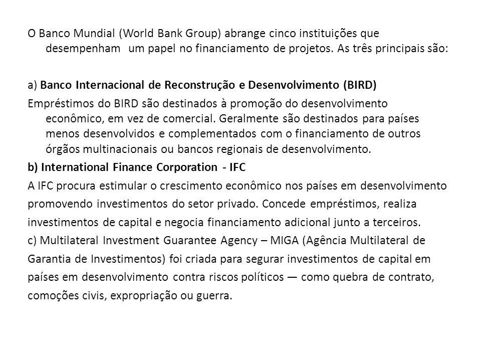 O Banco Mundial (World Bank Group) abrange cinco instituições que desempenham um papel no financiamento de projetos.