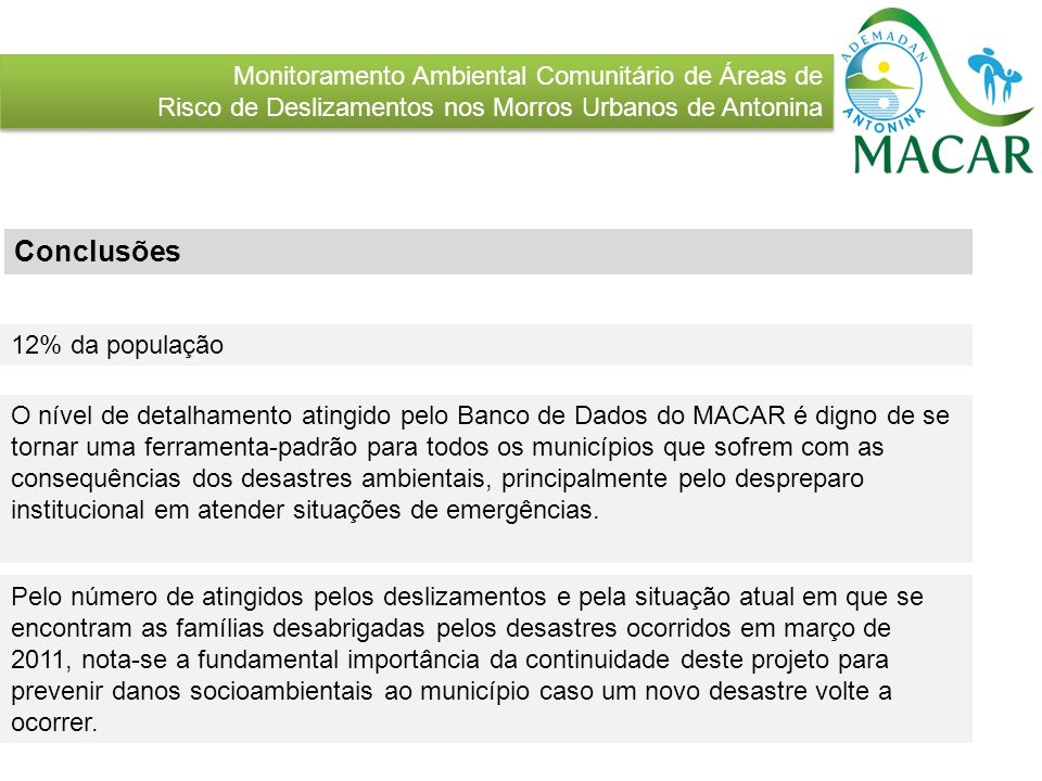 Conclusões Monitoramento Ambiental Comunitário de Áreas de