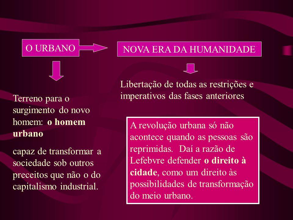 O URBANO NOVA ERA DA HUMANIDADE. Libertação de todas as restrições e imperativos das fases anteriores.