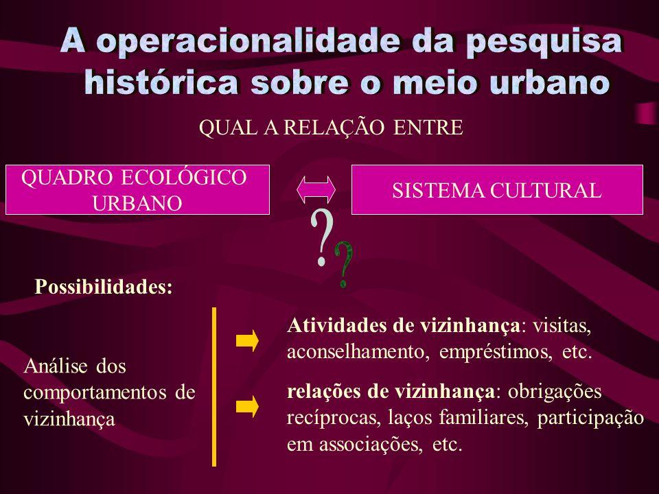 A operacionalidade da pesquisa histórica sobre o meio urbano