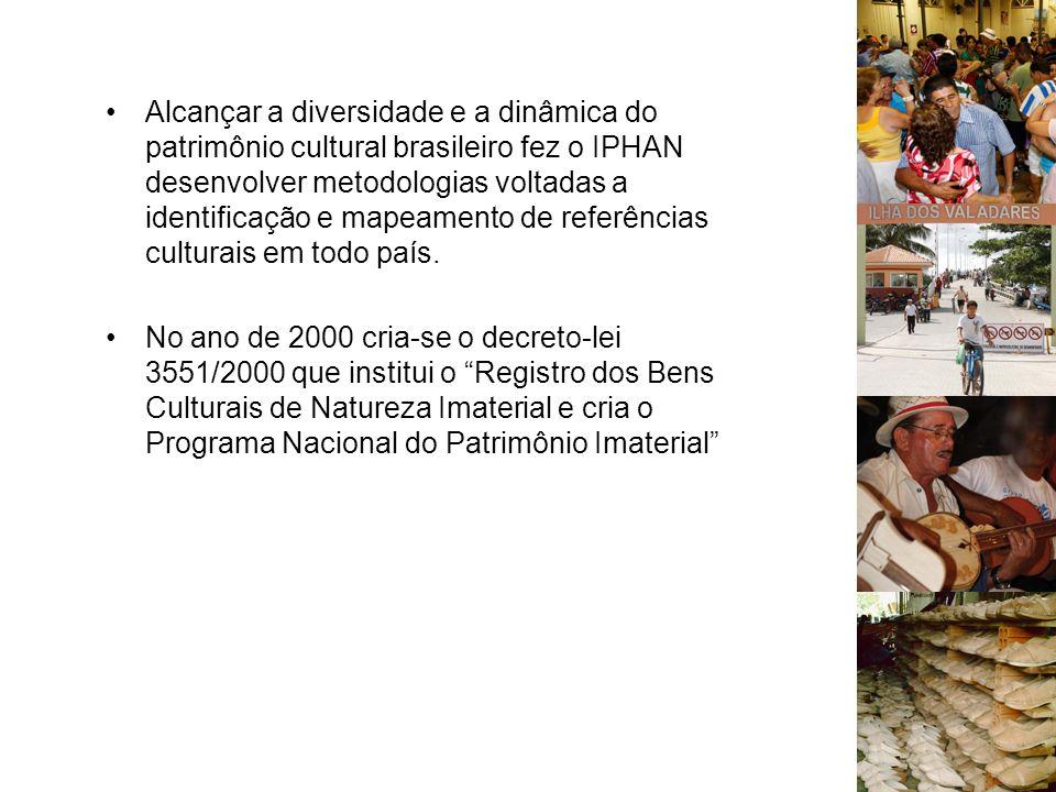 Alcançar a diversidade e a dinâmica do patrimônio cultural brasileiro fez o IPHAN desenvolver metodologias voltadas a identificação e mapeamento de referências culturais em todo país.