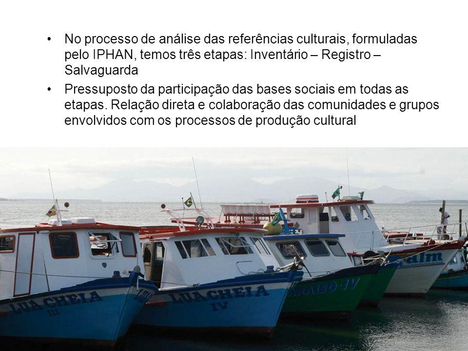 No processo de análise das referências culturais, formuladas pelo IPHAN, temos três etapas: Inventário – Registro – Salvaguarda