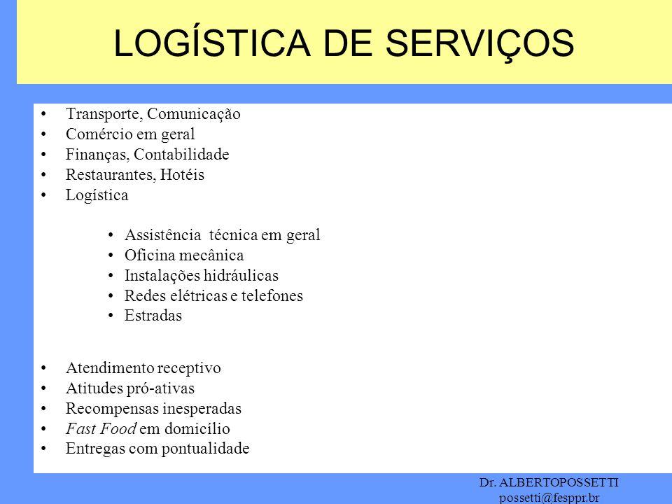 LOGÍSTICA DE SERVIÇOS Transporte, Comunicação Comércio em geral