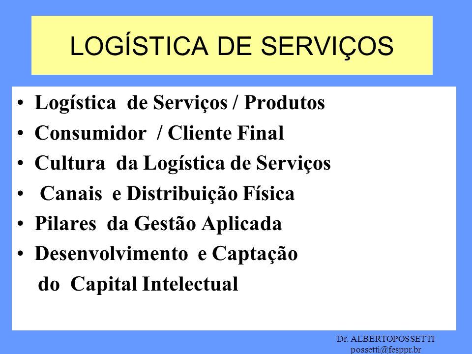 LOGÍSTICA DE SERVIÇOS Logística de Serviços / Produtos
