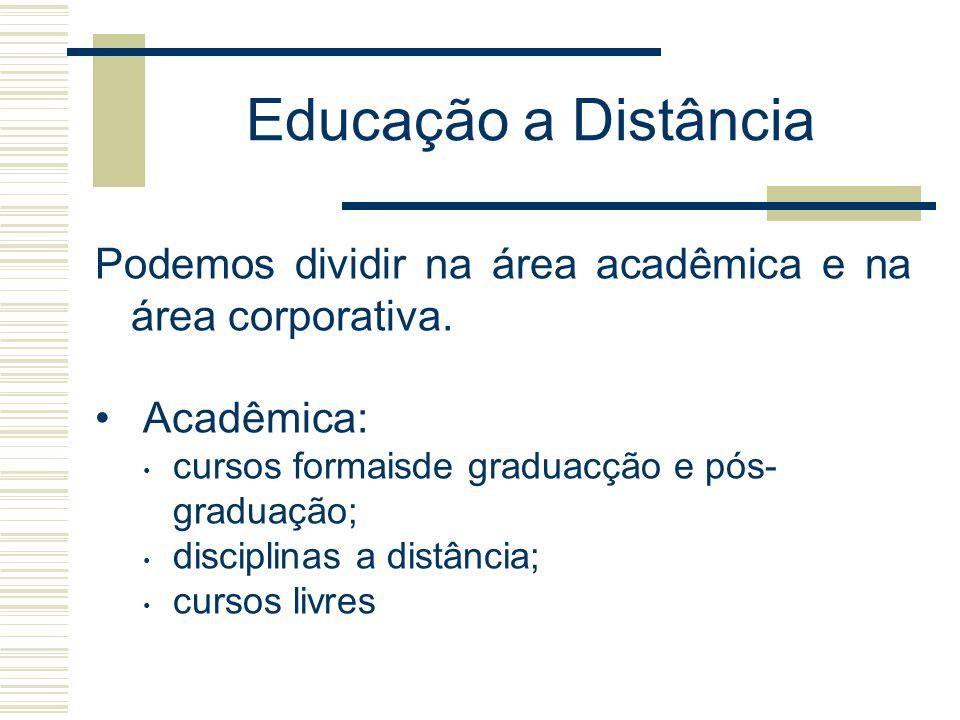 Educação a Distância Podemos dividir na área acadêmica e na área corporativa. Acadêmica: cursos formaisde graduacção e pós-graduação;