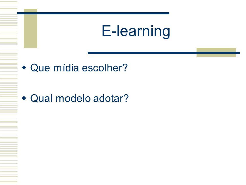 E-learning Que mídia escolher Qual modelo adotar