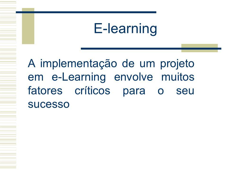 E-learning A implementação de um projeto em e-Learning envolve muitos fatores críticos para o seu sucesso.