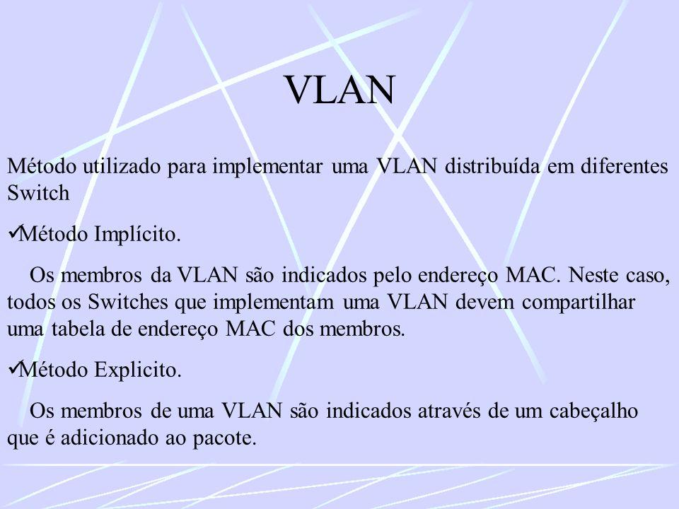 VLAN Método utilizado para implementar uma VLAN distribuída em diferentes Switch. Método Implícito.