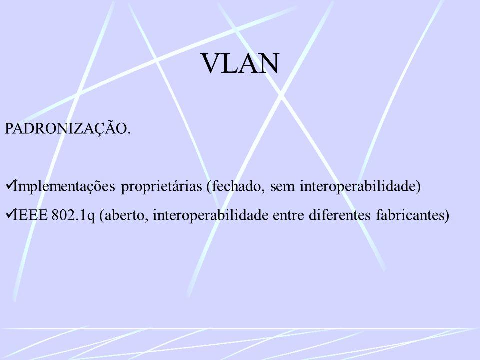 VLAN PADRONIZAÇÃO. Implementações proprietárias (fechado, sem interoperabilidade)