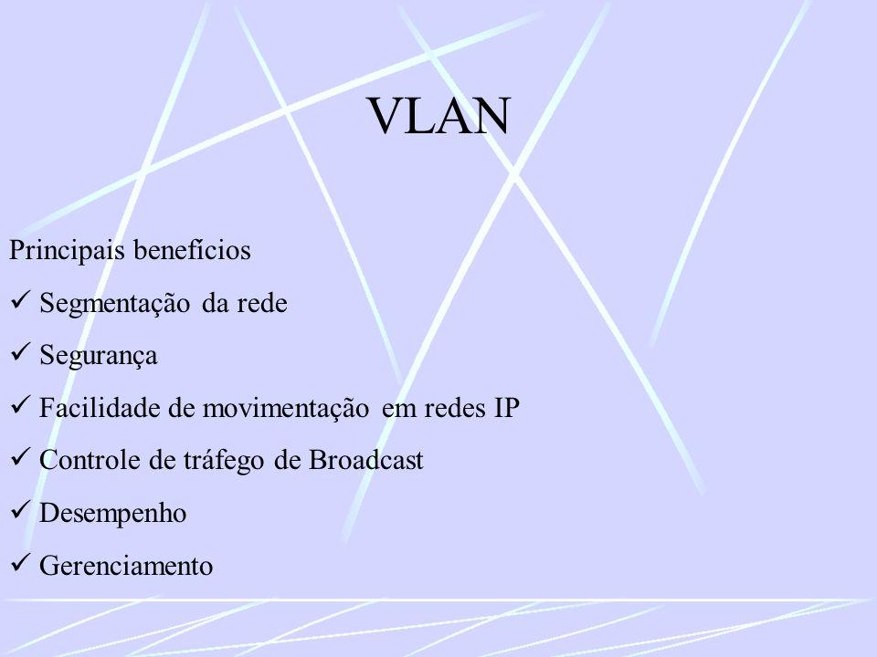VLAN Principais benefícios  Segmentação da rede  Segurança
