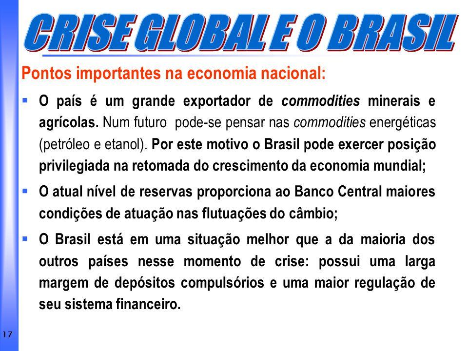 CRISE GLOBAL E O BRASIL Pontos importantes na economia nacional: