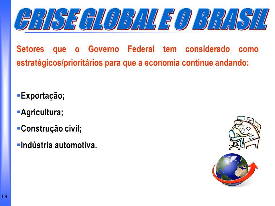 CRISE GLOBAL E O BRASIL Setores que o Governo Federal tem considerado como estratégicos/prioritários para que a economia continue andando: