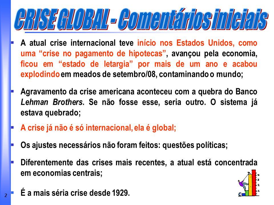 CRISE GLOBAL - Comentários iniciais