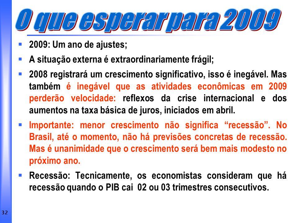 O que esperar para 2009 2009: Um ano de ajustes;