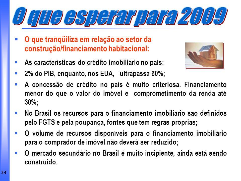 O que esperar para 2009 O que tranqüiliza em relação ao setor da construção/financiamento habitacional: