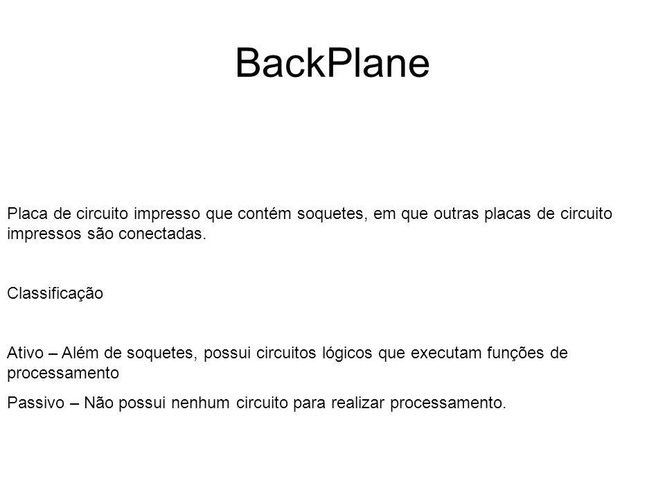 BackPlanePlaca de circuito impresso que contém soquetes, em que outras placas de circuito impressos são conectadas.