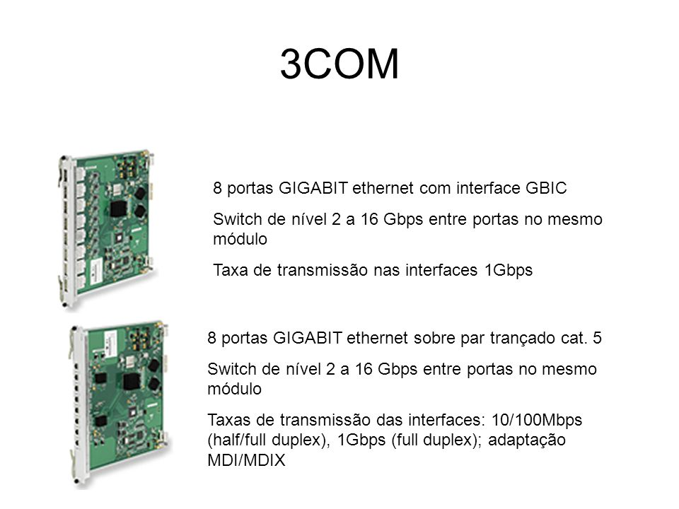 3COM 8 portas GIGABIT ethernet com interface GBIC