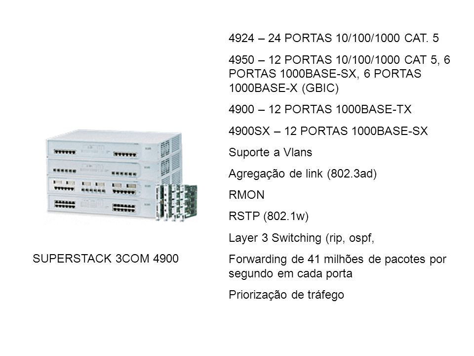 4924 – 24 PORTAS 10/100/1000 CAT. 5 4950 – 12 PORTAS 10/100/1000 CAT 5, 6 PORTAS 1000BASE-SX, 6 PORTAS 1000BASE-X (GBIC)